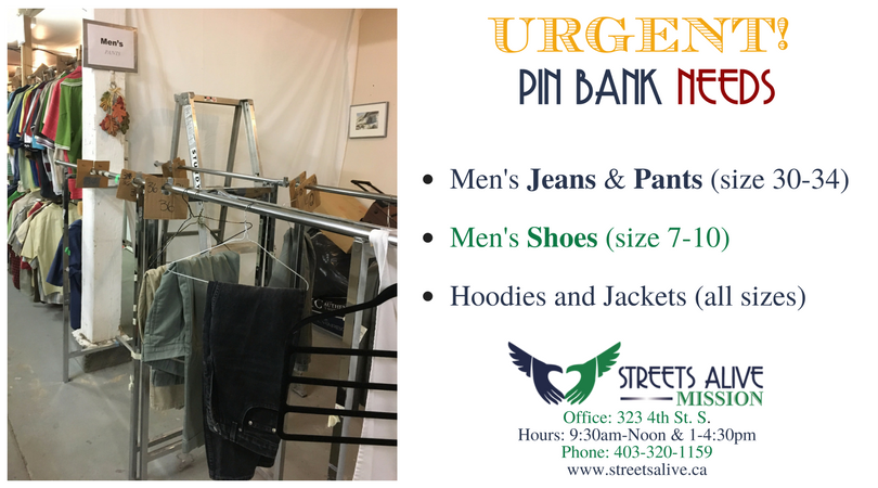 Urgent Need for Men's Clothing 5-29-17