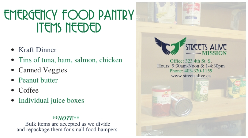 Emergency Food Pantry Items Needed