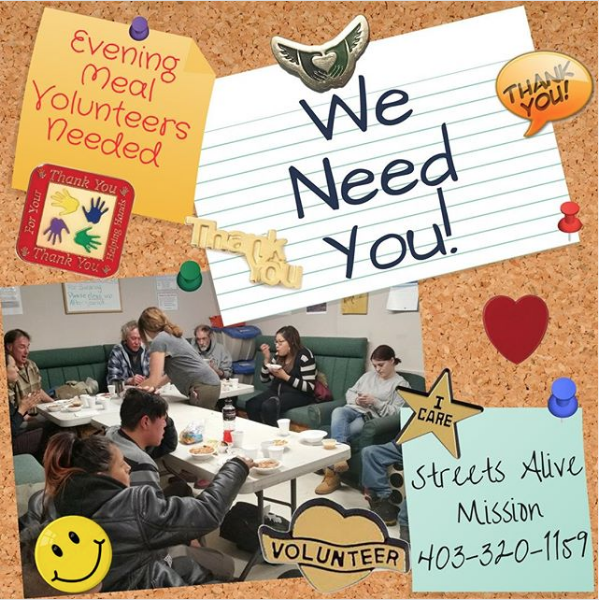"URGENT NEED for Evening Meal Volunteers! ?️ Our ""Feeding 'em Hope"" evening meal program is in desperate need of volunteers for Monday, Wednesday, Thursday, or Saturday evenings, from 6:30pm to 9:30pm. The volunteers help with setup/take down, serving meals, and visiting with our clients. We need individuals who are willing to make a 3-hour commitment once a week. Volunteers will be placed into teams with a captain. There are always staff members present during the volunteer times. INTERESTED? Please email volunteer@streetsalive.ca or give Cam a call at the office at 403-320-1159. Volunteer applications forms are available online: https://streetsalive.ca/volunteer/"