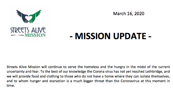 COVID-19 Mission Update - 03-16-2020