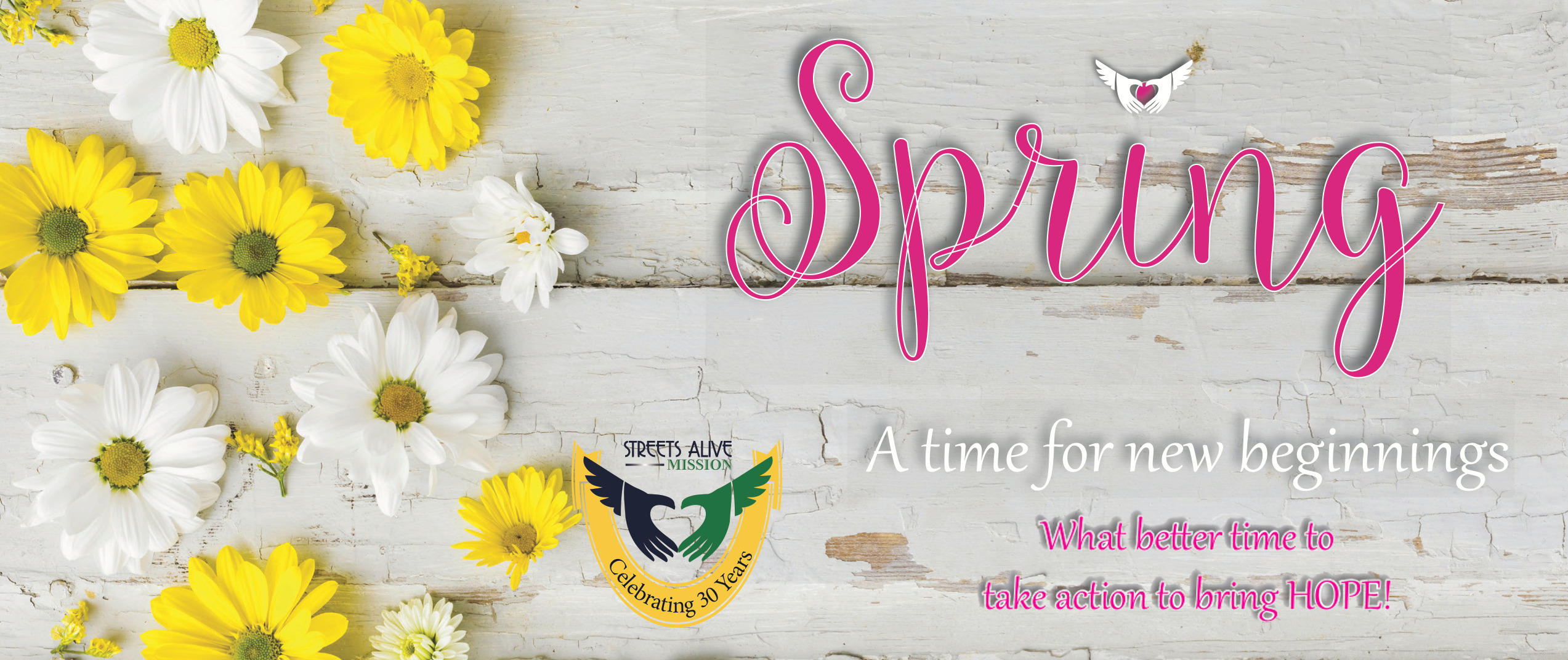 Spring - A time for new beginnings. What better time to take action to bring HOPE!