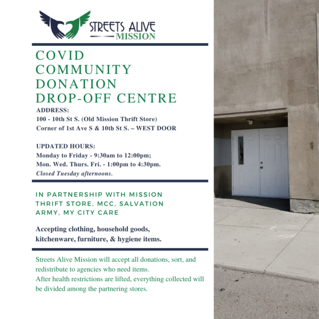 Updated Hours - Community Donation Drop Off Centre