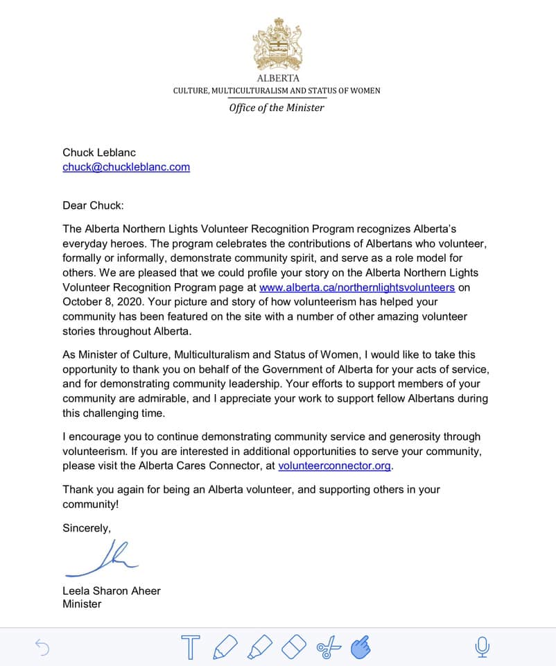 Northern Lights Volunteer letter - Chuck LeBlanc