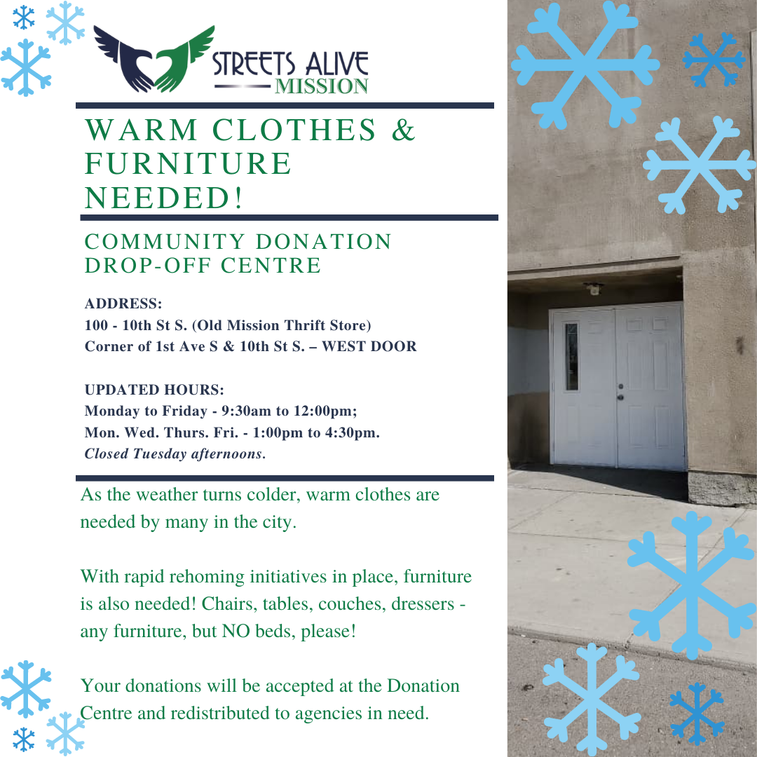 Warm Clothes and Furniture Needed