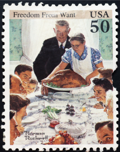 perfect family christmas - norman rockwell stamp